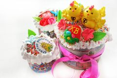 Three Easter cakes. Prepared in one of the bakeries of the city of Petropavlovsk for the celebration of the Easter stock photos