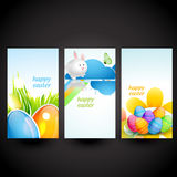 Three easter cards. Set of three easter cards vector design Stock Photos