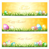 Three Easter cards. With eggs in the grass and Sun, illustration Royalty Free Stock Photography
