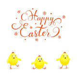 Three Easter chicks on white background Royalty Free Stock Photo