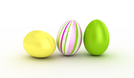 Three easter eggs. Illustration  of three easter eggs over white Royalty Free Stock Image