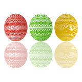 Three Easter eggs. Three color Easter eggs and reflection Royalty Free Stock Photo