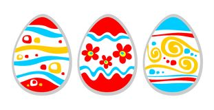 Three easter eggs. Three ornate easter eggs isolated on a white background Royalty Free Stock Image