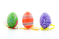 Three easter eggs. Three colorful easter eggs isolated on white background royalty free stock photo
