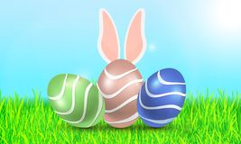 Three Easter eggs on the background of grass and sky stock illustration