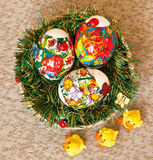 Easter eggs in the basket. Three Easter eggs in the basket Royalty Free Stock Photos