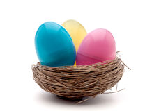 Three Easter eggs in a bird nest Royalty Free Stock Image