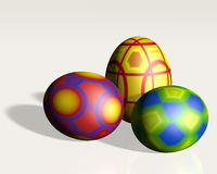 Three easter eggs on the floor Royalty Free Stock Images