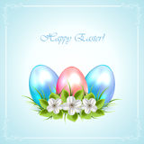 Three Easter eggs with flowers Royalty Free Stock Photography