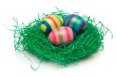 Three Easter Eggs on Grass Royalty Free Stock Image
