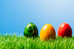 Three easter eggs in grass, blue background. Three different color painted easter eggs in grass, blue background Stock Images