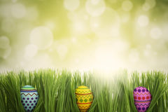 Three easter eggs hiding in the grass Stock Photo