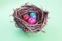 Three easter eggs in nest Royalty Free Stock Photography