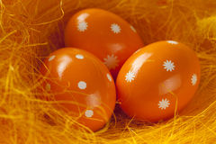 Three Easter eggs in nest Royalty Free Stock Photos