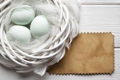 Three Easter eggs in the nest Stock Images