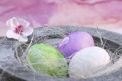 Three easter eggs in pastel Royalty Free Stock Images