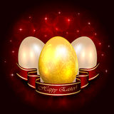 Three Easter eggs and red ribbon Stock Images