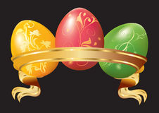 Three Easter eggs with ribbon Royalty Free Stock Images