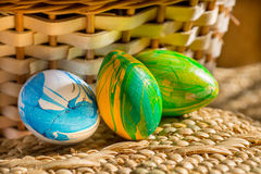 Three easter eggs Stock Photo