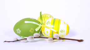 Three Easter painted eggs Royalty Free Stock Photo