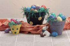 Three easter painted pots Royalty Free Stock Photography