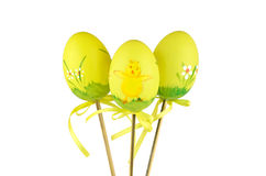 Three Easter, yellow chicken eggs Royalty Free Stock Image