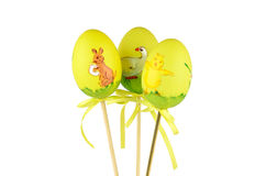 Three Easter, yellow chicken eggs Royalty Free Stock Photos