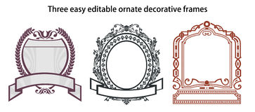 Three easy editable ornate decorative frames Stock Photography