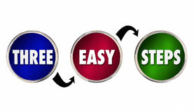Three 3 Easy Steps Circles Process Directions Royalty Free Stock Photos