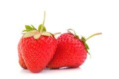 Three eco strawberries Stock Photo