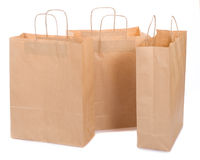Three ecological paper bags Stock Photos