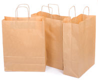 Three ecological paper bags Royalty Free Stock Photos