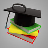 Three education book for succesful graduation Royalty Free Stock Photo