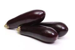Three eggplant. Isolated on white Stock Photography