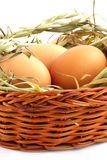 Three eggs. In basket with the hay against the white background Royalty Free Stock Image