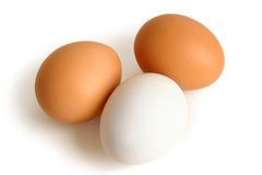 Three eggs. On a white background Royalty Free Stock Photography