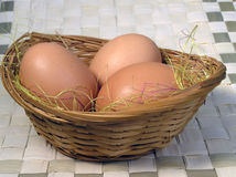 Three eggs. In basket Royalty Free Stock Image
