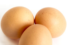 Three eggs from above Stock Photos