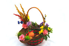Easter :Three eggs in basket Stock Photos