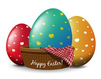 Three eggs in basket on easter card design Royalty Free Stock Photography