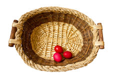 Three eggs in a basket Stock Photography