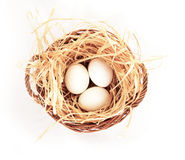Three eggs in basket on white background  Find Similar Images Stock Image