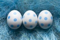 Three eggs on blue grass stock photography
