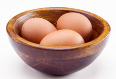 Three eggs in bowl Royalty Free Stock Image