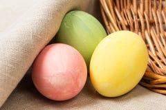 Three eggs on burlap Stock Photography