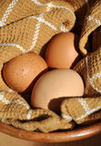 Three Eggs on Cloth Stock Photo