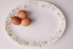 Three Brown Eggs Stock Photos