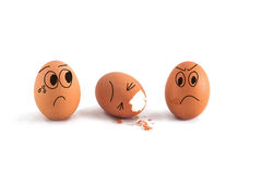 Three eggs with cute face Stock Photo