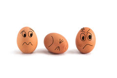 Three eggs with cute face Royalty Free Stock Images