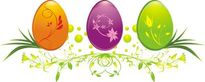 Three eggs with decorative ornament Stock Image